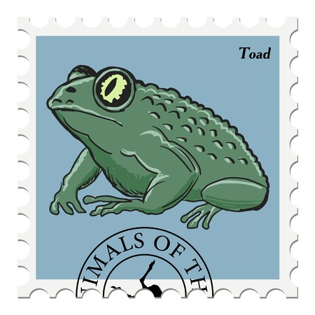 post stamp: vector, post stamp with toad Vettoriali