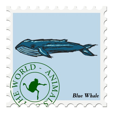 blue whale: vector, post stamp with blue whale