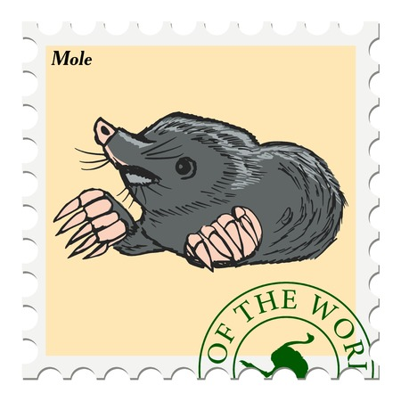 post stamp: vector, post stamp with mole