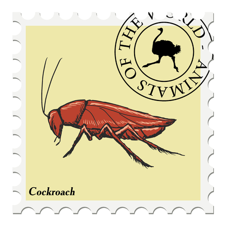 post stamp: vector, post stamp with cockroach Illustration
