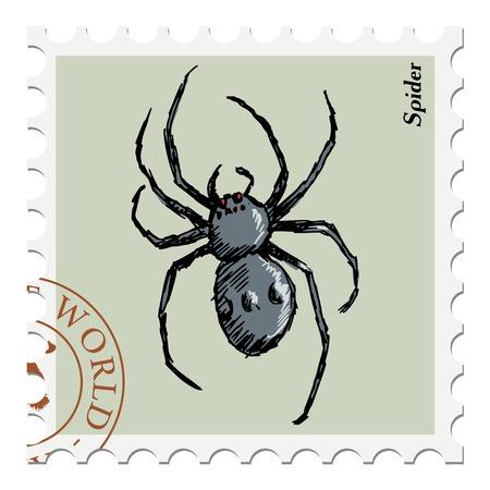 poststempel: Vektor, Post Stempel mit Spinne Illustration