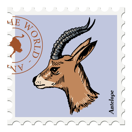 antelope: vector, post stamp with antelope