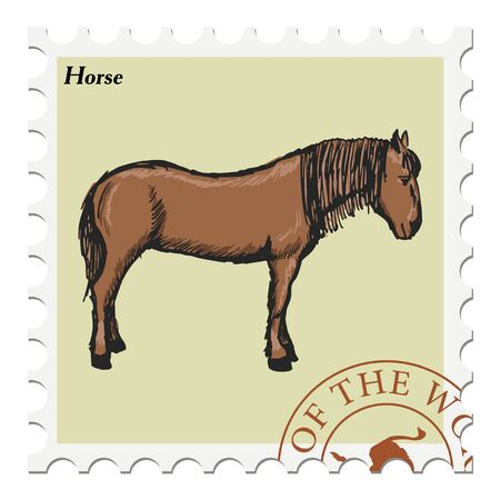 canceled: vector, post stamp with horse Illustration