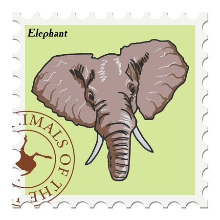 indian postal stamp: vector, post stamp with elephant