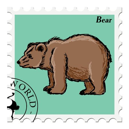 post stamp: vector, post stamp with bear Vettoriali