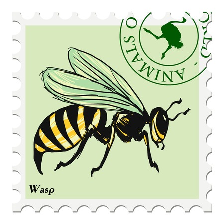post stamp: vector, post stamp with wasp