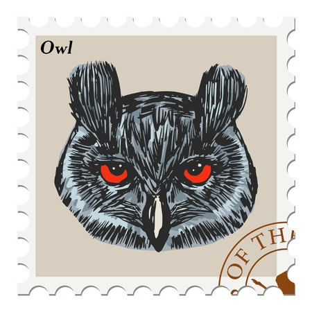 philately: vector, post stamp with owl Illustration