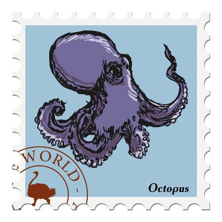 philately: vector, post stamp with octopus
