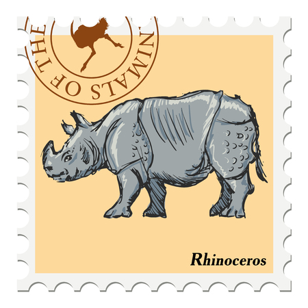 post stamp: vector, post stamp with rhinoceros