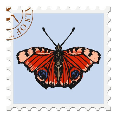 canceled: vector, post stamp with butterfly