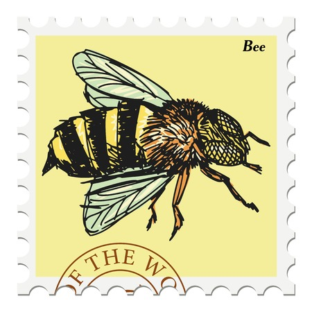 vector, post stamp with bee Stock Illustratie