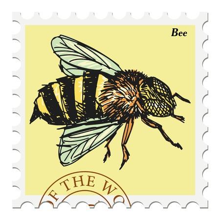miel de abeja: vector, puesto sello con la abeja