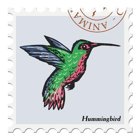 canceled: vector, post stamp with hummingbird