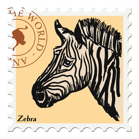 post stamp: vector, post stamp with zebra