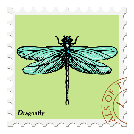 canceled: vector, post stamp with dragonfly