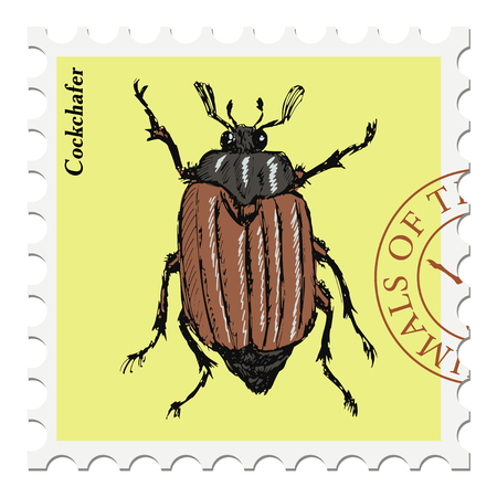 post stamp: vector, post stamp with cockchafer Illustration
