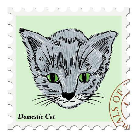 post stamp: vector, post stamp with kitten Illustration