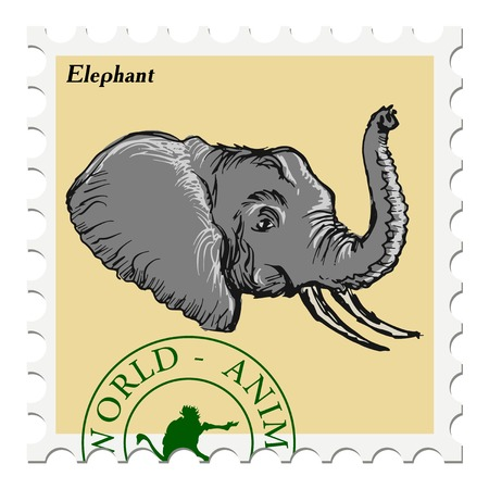 canceled: vector, post stamp with elephant