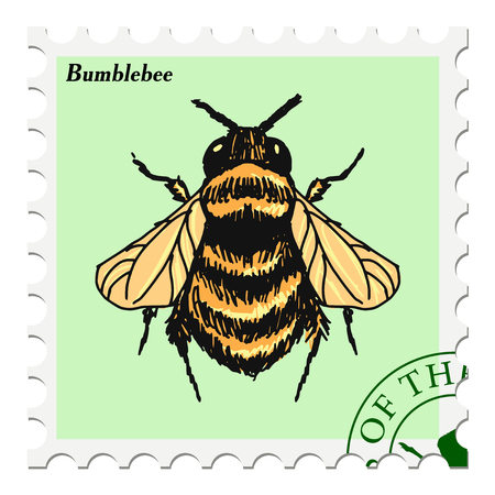 post stamp: vector, post stamp with bumblebee