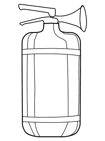 inflammable: outline illustration of extinguisher, equipment for firefighter