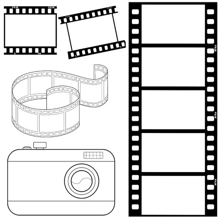 film: set of vector, outline illustrations of film strips and photocamera