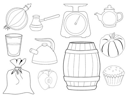 coffee sack: set of vector, outline illustrations of kitchen objects and foods Illustration