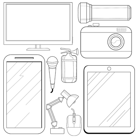consumer electronics: set of vector, outline illustrations of consumer electronics