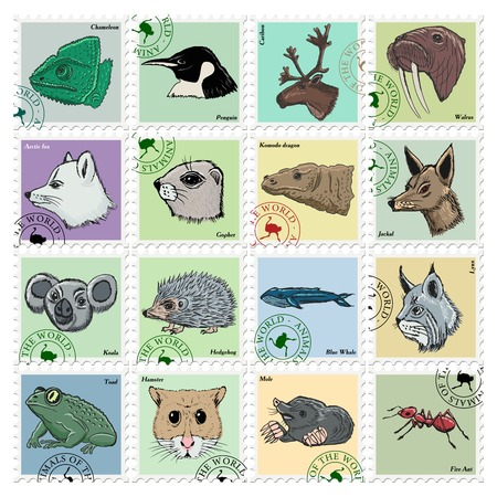 polar fox: animal stamps with jackal, koala, ant and other animals