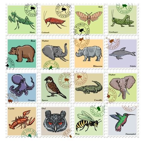 mantis: animal stamps with elephant, octopus, mantis and other animals Illustration