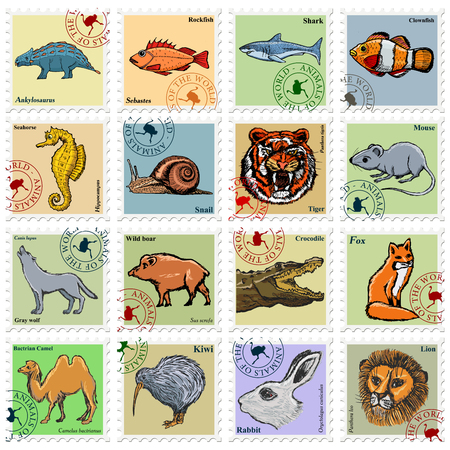 camel post: animal stamps with wolf, lion, tiger and other animals Illustration