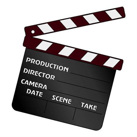 vector illustration of movie clapper, cinema object