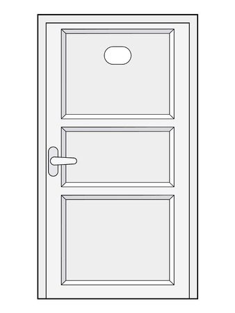 front view: vector illustration of closed door, front view
