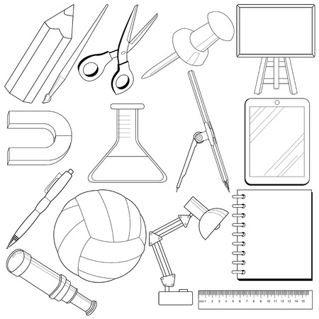 ball pens stationery: set of outline illustrations of school related objects