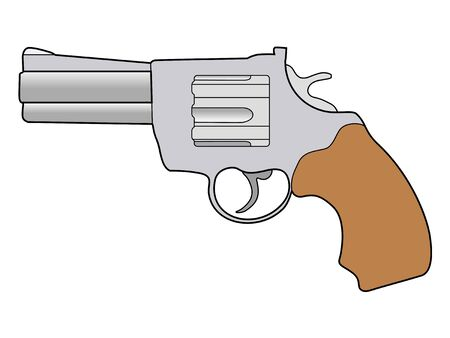 caliber: illustration of old revolver pistol Illustration