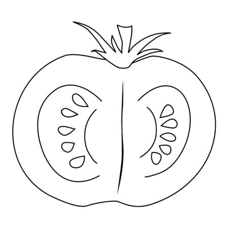 cutting: outline illustration of cutting tomato