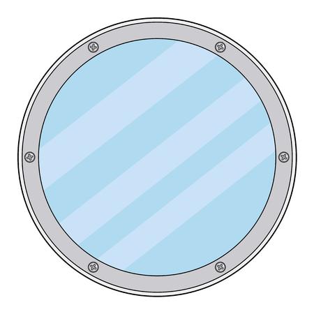 porthole: illustration of porthole, detail of yacht