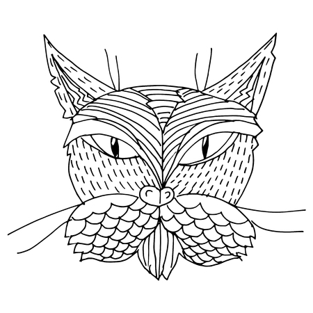 domestic life: Cartoon, hand drawn, vector doodle illustration of cat. Motive of domestic life
