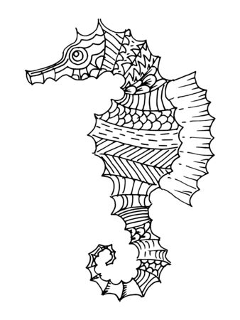 Cartoon, hand drawn, vector doodle illustration of seahorse. Motive of marine life