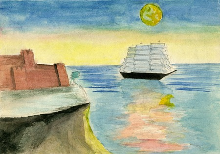 raster artistic: hand drawn illustration, raster graphics, artistic, illustration of landscape with sea, moon, ship and castle Stock Photo