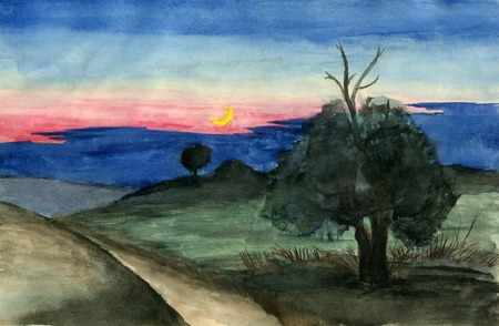 rural scene: hand drawn illustration, raster graphics, artistic, illustration of landscape with rural scene, field and path