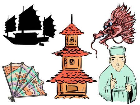 set of chinese motive with pagoda, dragon, ship, travel to China