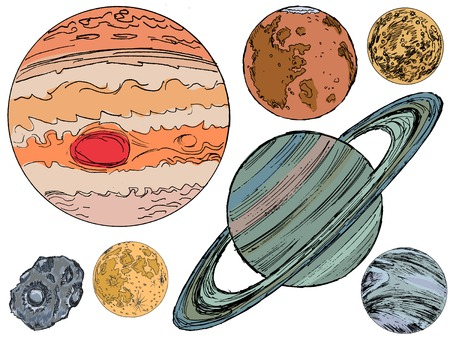 set of hand drawn, illustration of objects of solar system