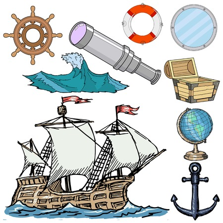 caravel: set of nautical related objects