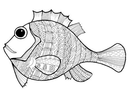 漫画、手描き、魚のベクトル落書きイラスト。海洋生物の動機