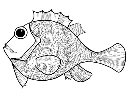 Cartoon, hand drawn, vector doodle illustration of fish. Motive of marine life 向量圖像