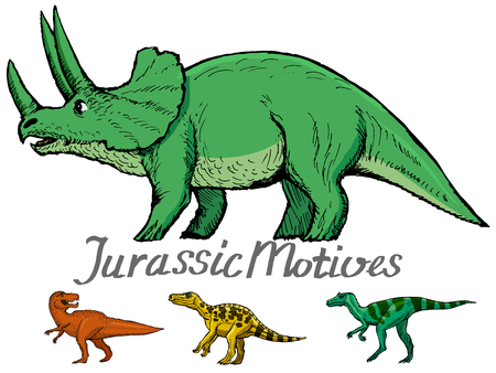 set of dinosaurs, jurassic motive, triceratops, tyrannosaurus and other dinosaurs
