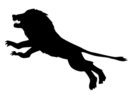 attacking: Silhouette of attacking lion Illustration