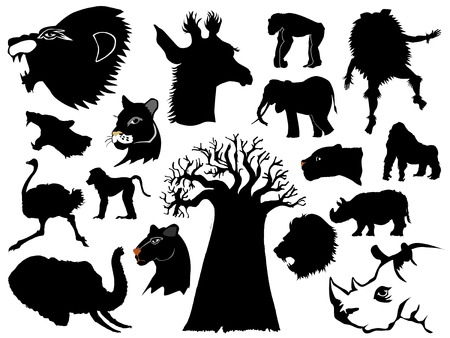 set of silhouettes of African animal