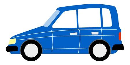 vector, cartoon illustration of minivan
