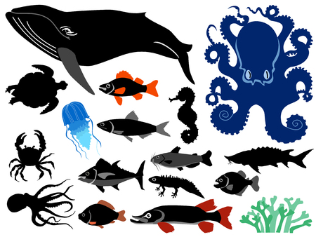 set of silhouettes of water animal Illustration